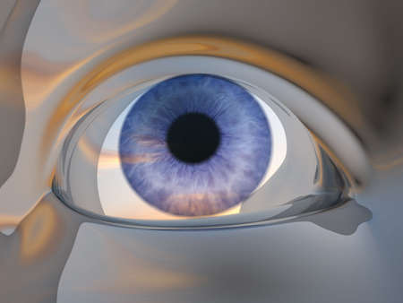 supervisory: Digitally generated image of human eye - 3d render Stock Photo