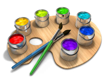 pallete: Paint pallete with paint cans and brushes - 3d render