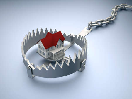 hardship: A house sitting on a trap suggesting risk in real estate - 3d render