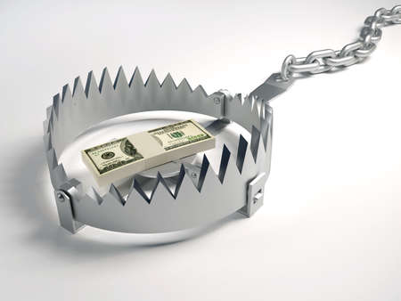 money risk: Dollars stack sitting on bear trap - 3d render Stock Photo