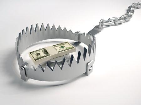animal trap: Dollars stack sitting on bear trap - 3d render Stock Photo