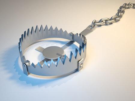 Illustration of bear trap suggesting risk - 3d render Stock Illustration - 5863301