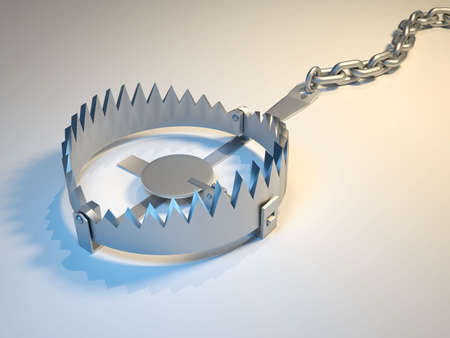 Illustration of bear trap suggesting risk - 3d render Stock Illustration - 5863301