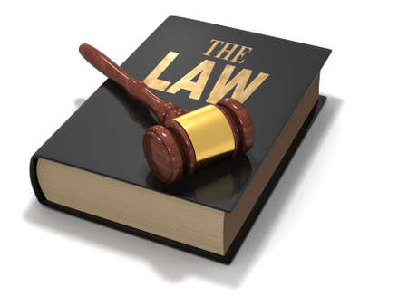 The law book with gavel on white background - 3d render photo