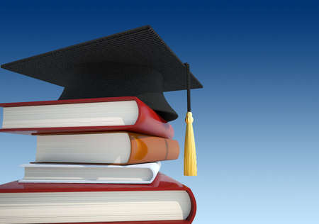 Stack of books with graduation cap - 3d render Stock Photo - 5862699
