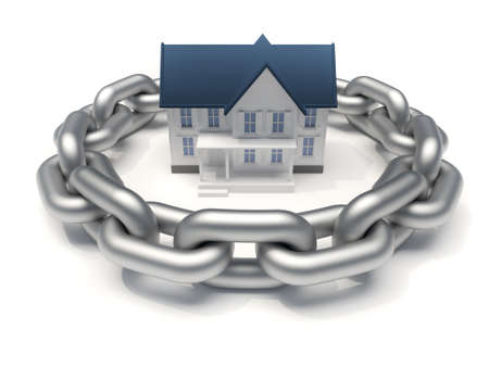 surrounded: House surrounded by a chain - home security concept - 3d render