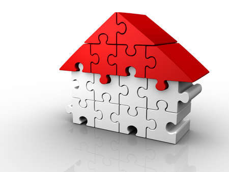 arranged: Puzzle pieces arranged in a house shape - 3d render