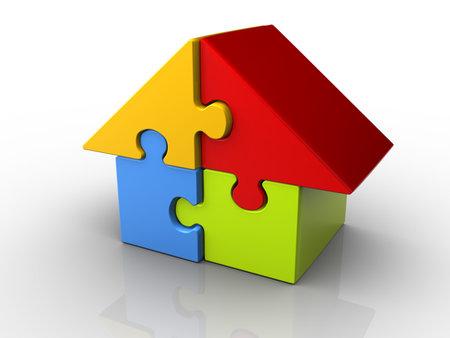colourful houses: Piezas de un rompecabezas dispuestas en una casa de forma procesamiento - 3d  Foto de archivo