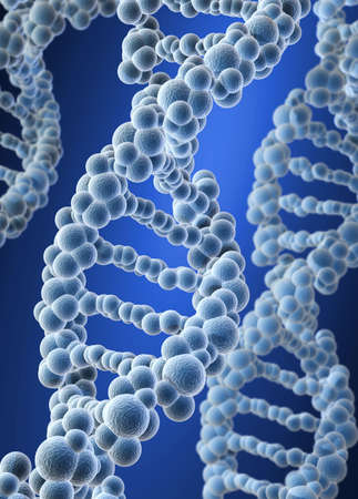genetically modified organisms: Conceptual DNA structure on blue background - 3d render Stock Photo