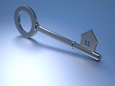 Key with house shape - real estate concept - 3d render