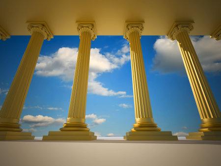 columnas romanas: �ngulo bajo de procesamiento de oro columnas romanas - 3d  Foto de archivo