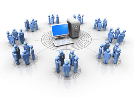 Conceptual people icons in a virtual network - 3d render Stock Photo - 5862909