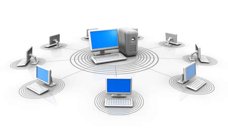 Conceptual computers in a network connected by a server - 3d render Stock Photo - 5863073