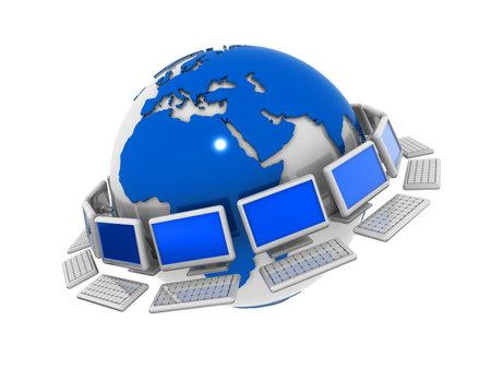 Conceptual computers network surrounding world - 3d render Stock Photo - 5862780