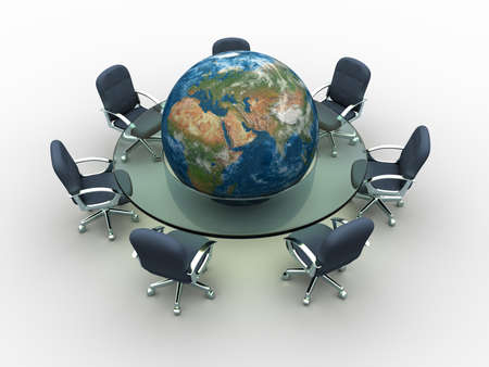 Glass conference table with Earth globe in middle - 3d render Stock Photo - 5862778