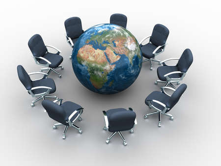 Business chair around the world - global meeting concept - 3d render Stock Photo - 5863161