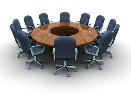 A round conference table with chairs - 3d render Stock Photo - 5863188