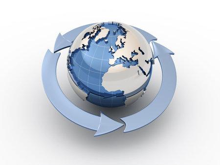 europe globe: Three arrows surrounding Earth globe - 3d render