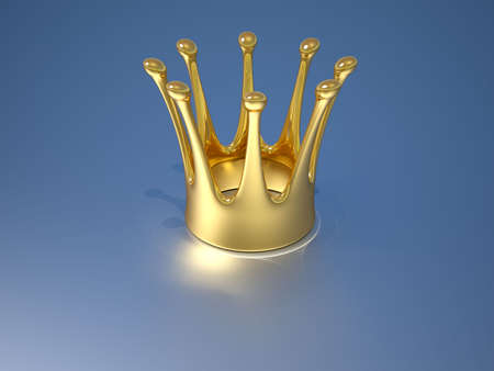 koninklijke kroon: Een gouden koninklijke kroon op een blauwe achtergrond - 3d render Stockfoto