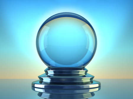paranormal: Magic crystal ball on blue background - 3d render