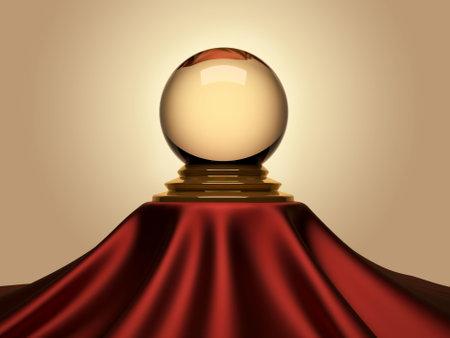 Magic crystal ball sitting on satin table cloth - 3d render photo