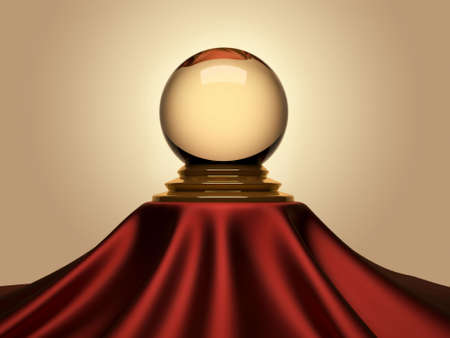 crystals: Magic crystal ball sitting on satin table cloth - 3d render Stock Photo