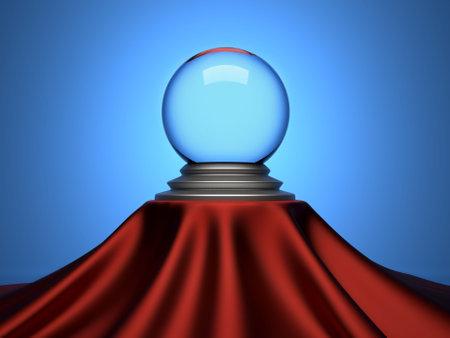 Boule de cristal magique assis � table satin tissu - 3d rendu