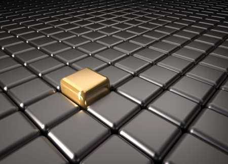 Outstanding golden cube among other black cube - 3d render photo