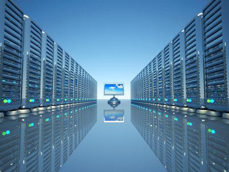 equipos: Las filas de los servidores de equipo de red y un lcd plana supervisar procesamiento - 3d