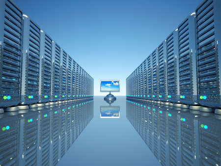 Rows of network computer servers and a flat lcd monitor - 3d render