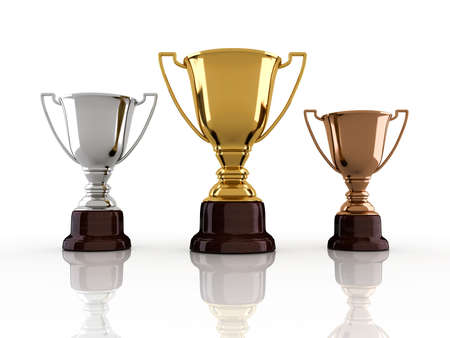 sports trophy: Gold, silver and bronze winners cup sitting on white background - 3d render