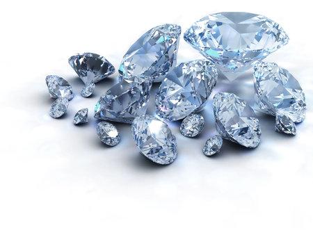 Beaucoup de diamants sur fond blanc de r�f�rence - 3d render