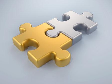 Rendu - 3d de pi�ces de puzzle joint or et argent