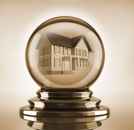 Magic crystal ball with a house inside - 3d render