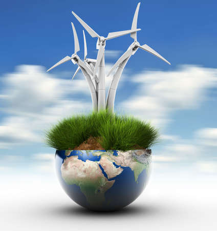 windturbine: Section of Earth globe with grass and windturbine - 3d render