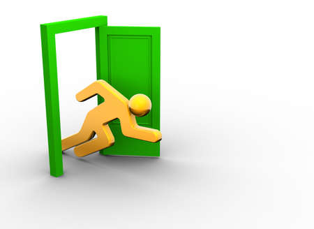 Illustration of icon runing through an open door - 3d render  Stock Illustration - 5862600