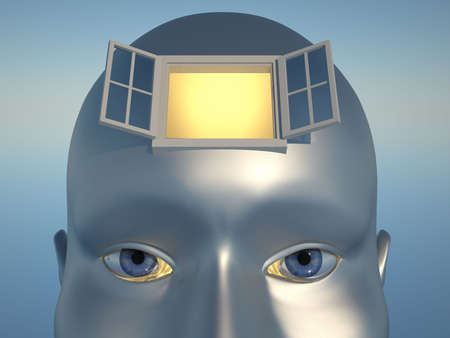 Human head with an open window - 3d render photo