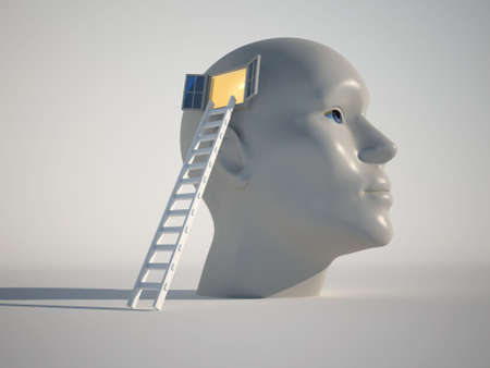 think heads: Human head with an open window and a stair - 3d render