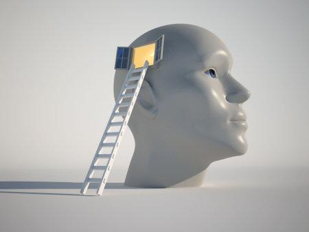 Testa umana con una finestra aperta e un rendering 3d di scale