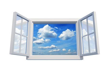 ventana abierta: Ventana abierta al cielo aislados en el procesamiento de fondo blanco - 3d  Foto de archivo