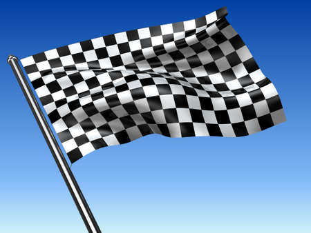 Drapeau � carreaux de courses sur fond bleu contexte rendu 3d
