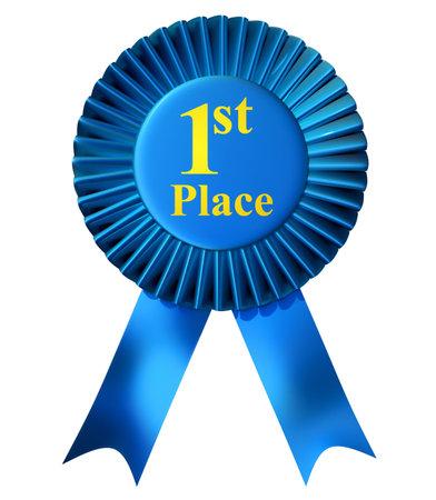 Blauw lint award met fairst plaats afgedrukt in goud - 3d render