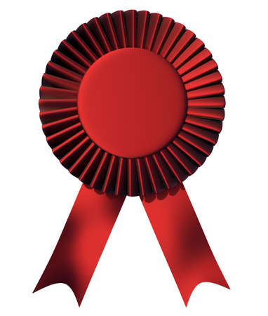 1st place: Blue ribbon first place award isolated on white - 3d render