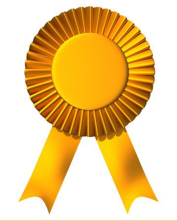 Yellow ribbon eerste plaats prijs geïsoleerd op wit - 3d render