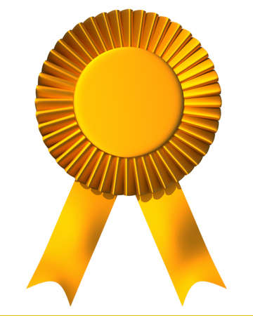 ribbon badge: Yellow ribbon first place award isolated on white - 3d render