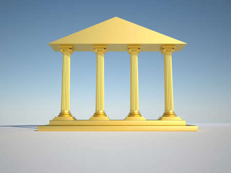 Low angle of golden roman building - 3d render photo