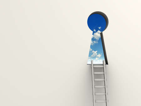 wall clouds: Ladder leading to a keyhole to the sky - 3d render Stock Photo