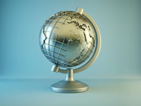 Globe de terre mettalic conceptuel avec extrud�e continents et relief 3d - rendu Banque d'images