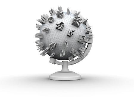 demografia: Conceptual globo de tierra con procesamiento de ciudades - 3d