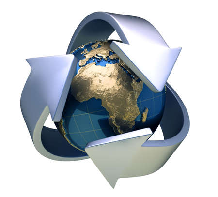 comunication: Earth globe surrounded by arrows - 3d render